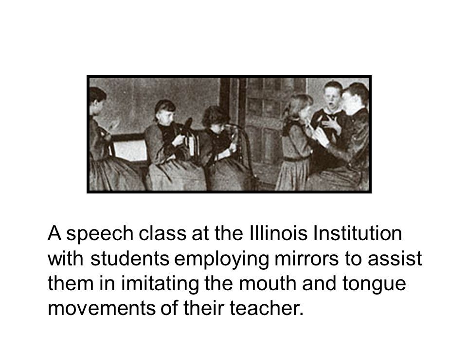 A speech class at the Illinois Institution with students employing mirrors to assist them in imitating the mouth and tongue movements of their teacher.