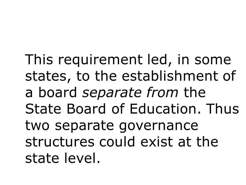 This requirement led, in some states, to the establishment of a board separate from the State Board of Education.