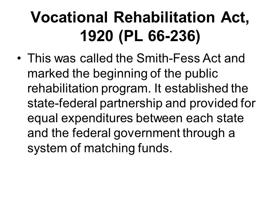 Vocational Rehabilitation Act, 1920 (PL 66-236)