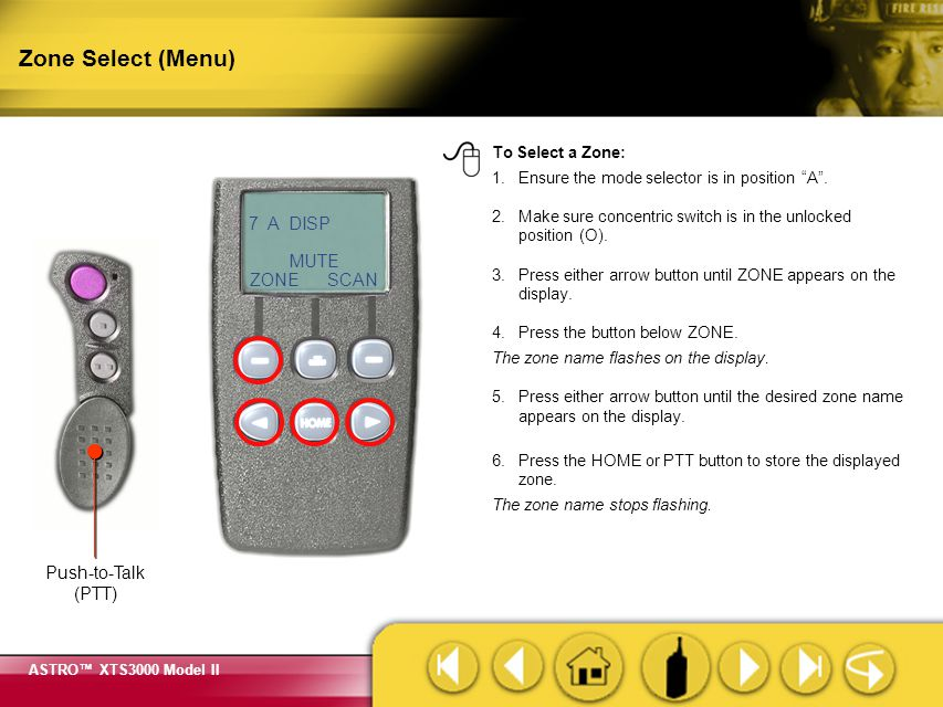 Zone Select (Menu) Pressing the PTT button will store the displayed zone and transmit at the same time.