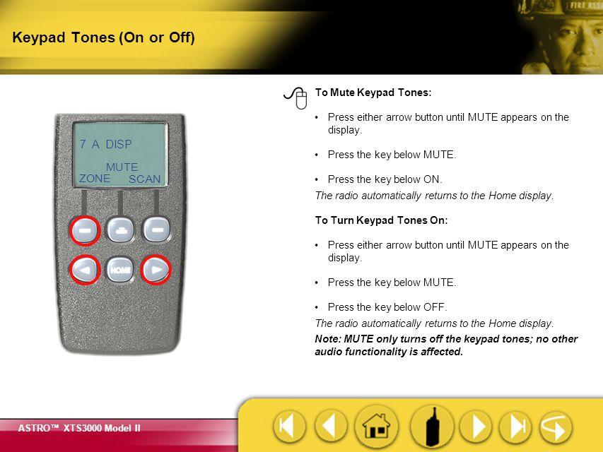 Keypad Tones (On or Off)