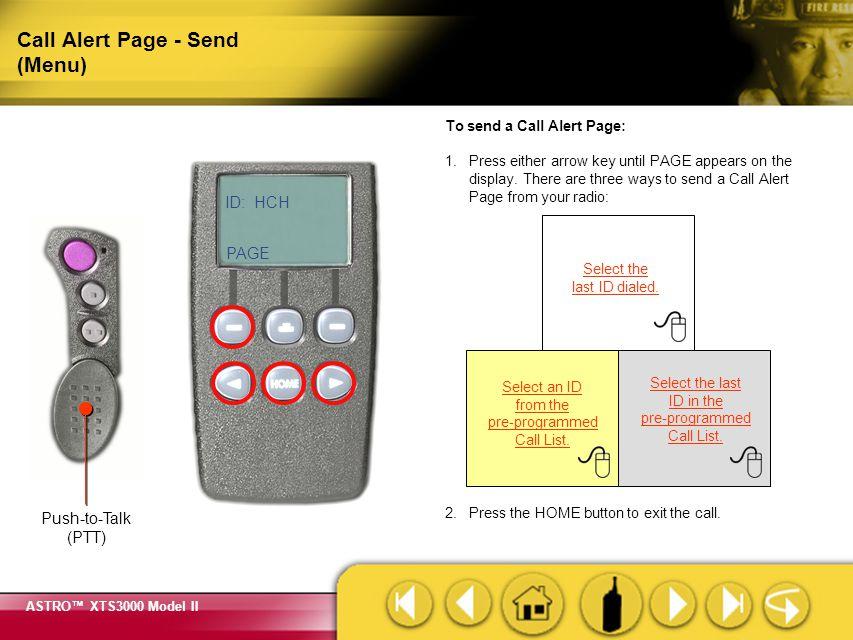 Call Alert Page - Send (Menu)