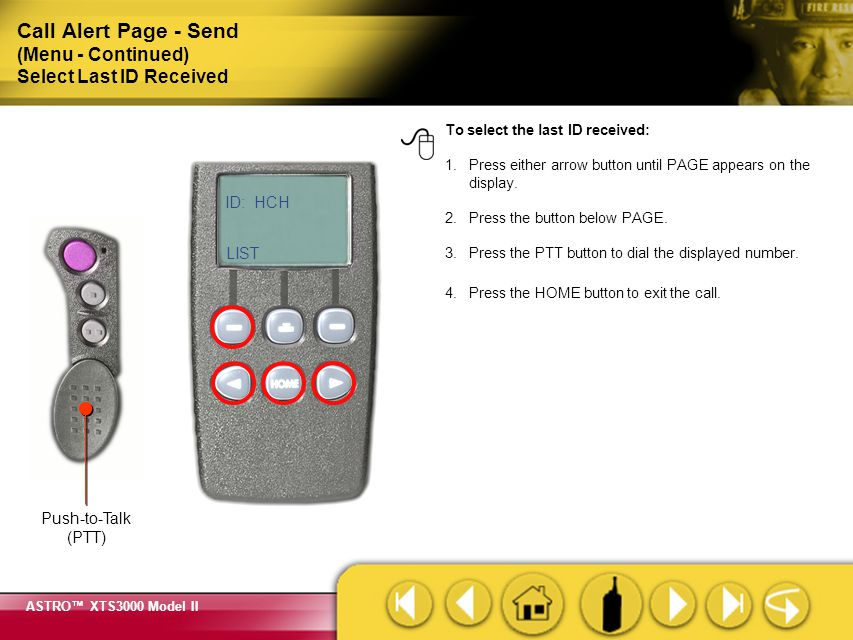 Call Alert Page - Send (Menu - Continued) Select Last ID Received