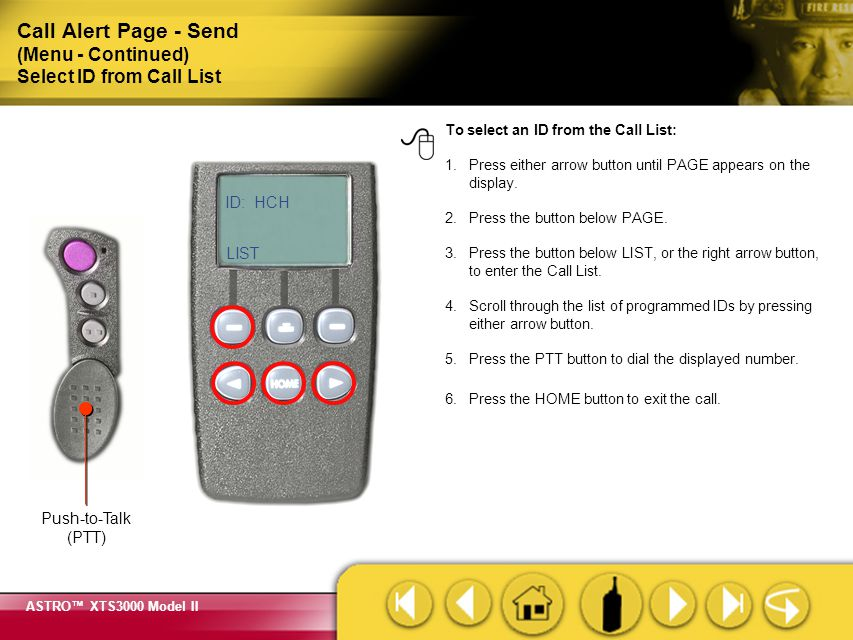 Call Alert Page - Send (Menu - Continued) Select ID from Call List