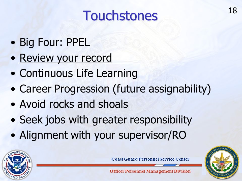Touchstones Big Four: PPEL Review your record Continuous Life Learning