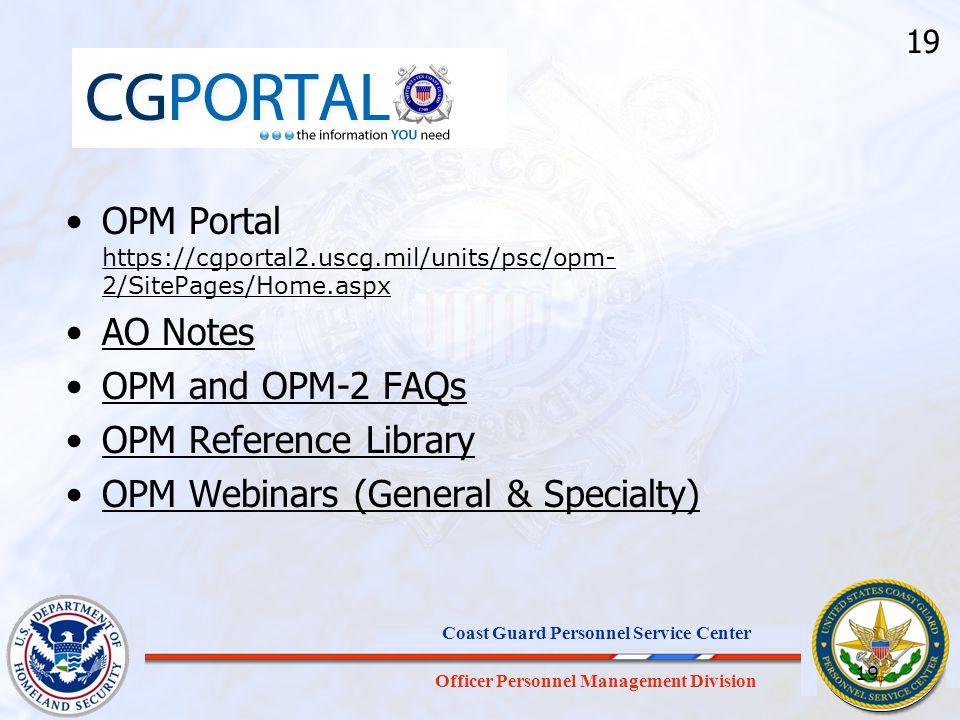 OPM Webinars (General & Specialty)