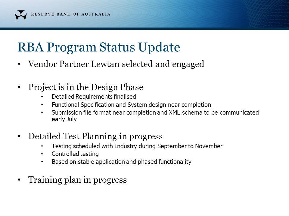 RBA Program Status Update