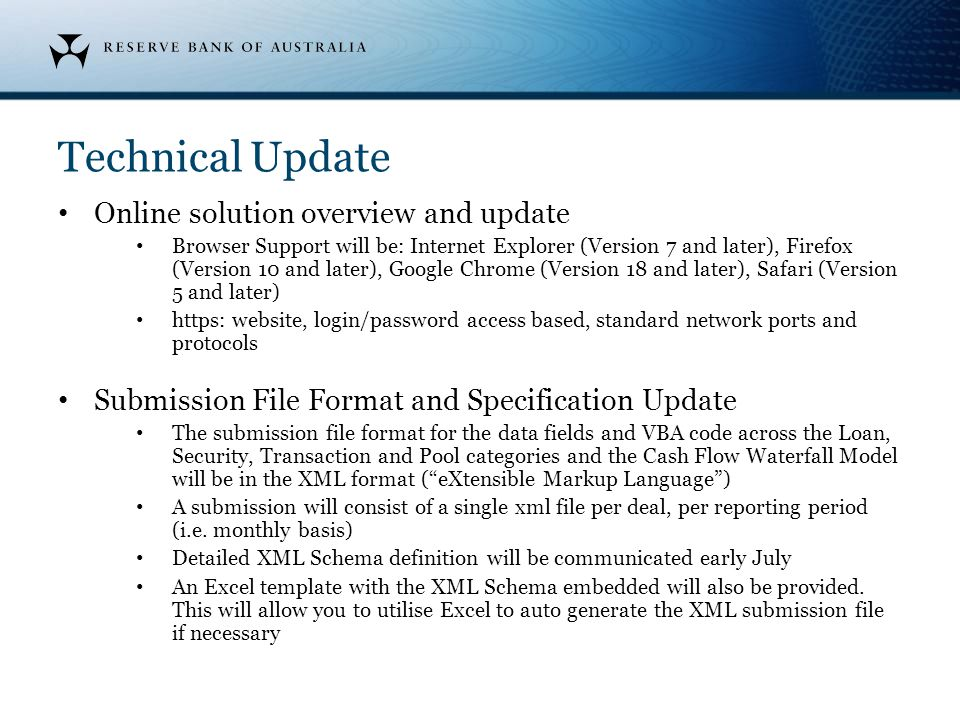 Technical Update Online solution overview and update