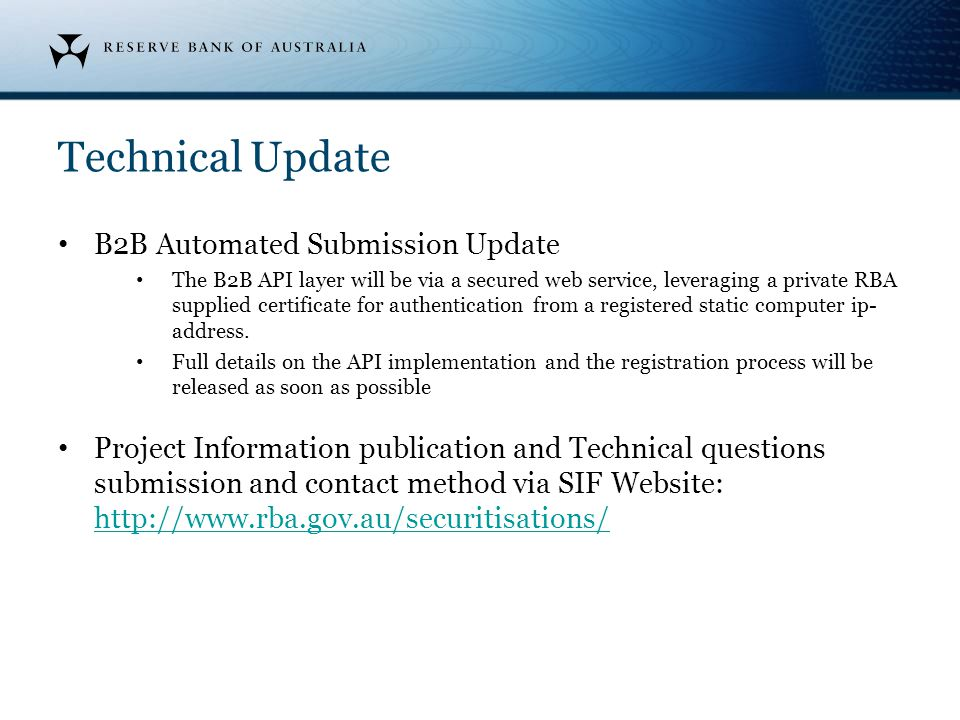 Technical Update B2B Automated Submission Update