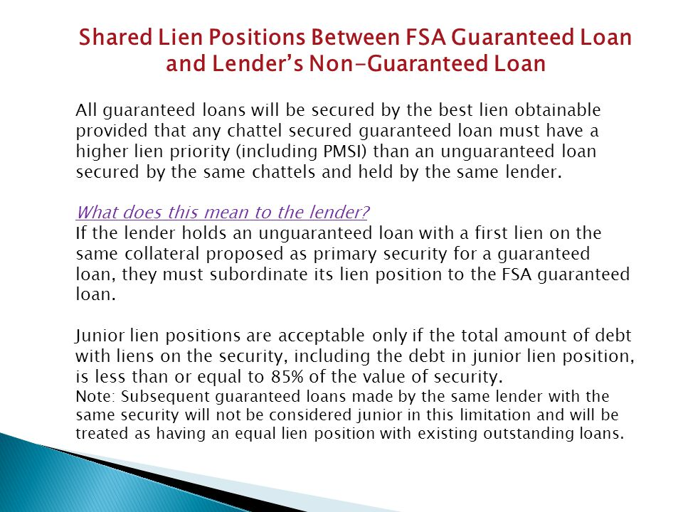 Shared Lien Positions Between FSA Guaranteed Loan and Lender's Non-Guaranteed Loan