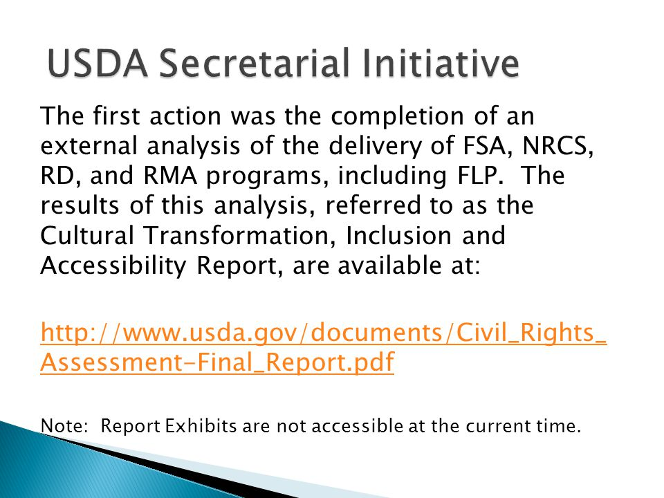 USDA Secretarial Initiative