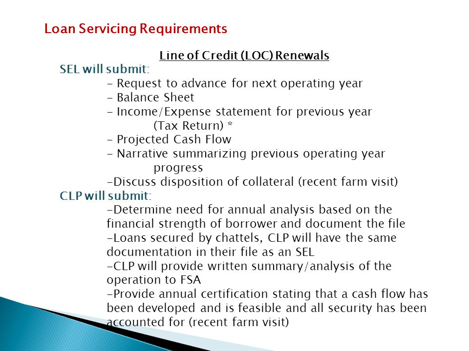 Line of Credit (LOC) Renewals