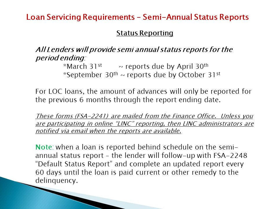 Loan Servicing Requirements – Semi-Annual Status Reports
