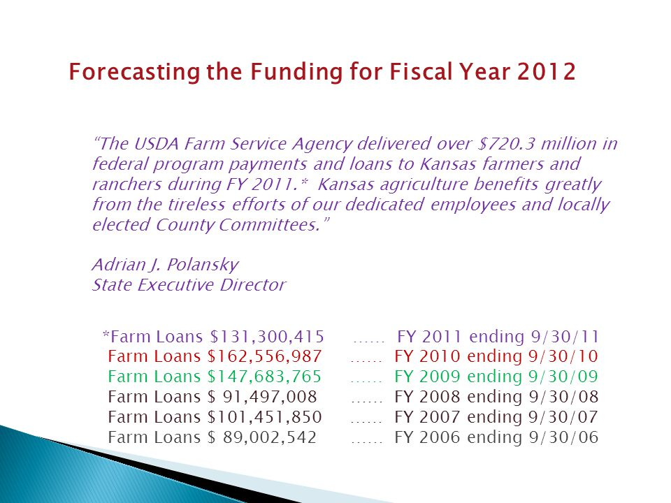 Forecasting the Funding for Fiscal Year 2012