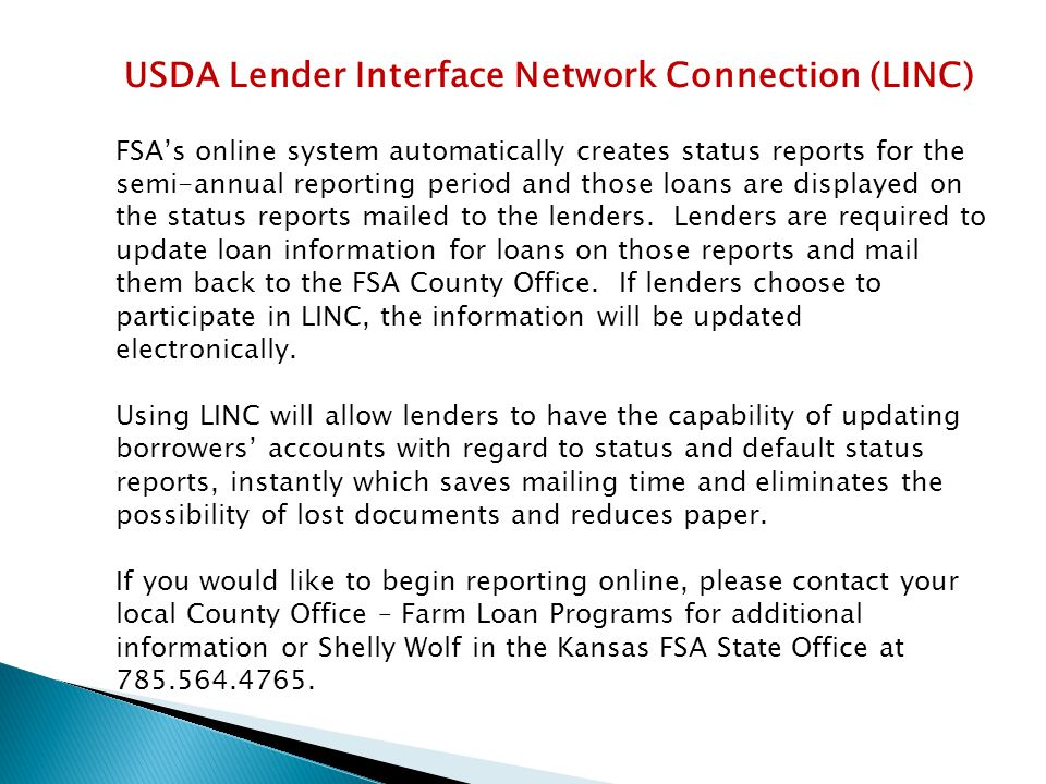USDA Lender Interface Network Connection (LINC)