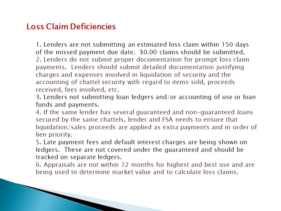 Loss Claim Deficiencies