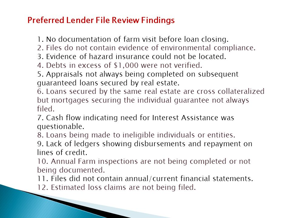 Preferred Lender File Review Findings