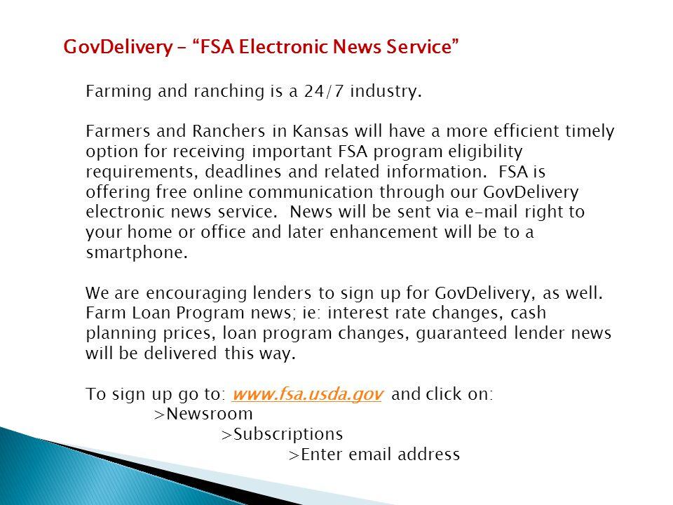 GovDelivery – FSA Electronic News Service