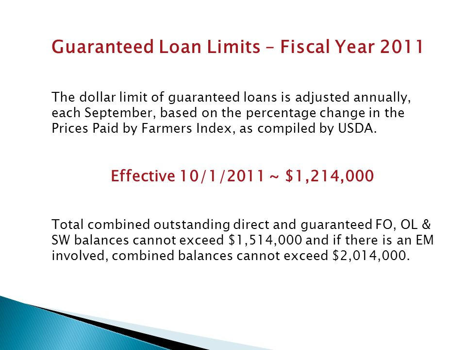 Guaranteed Loan Limits – Fiscal Year 2011