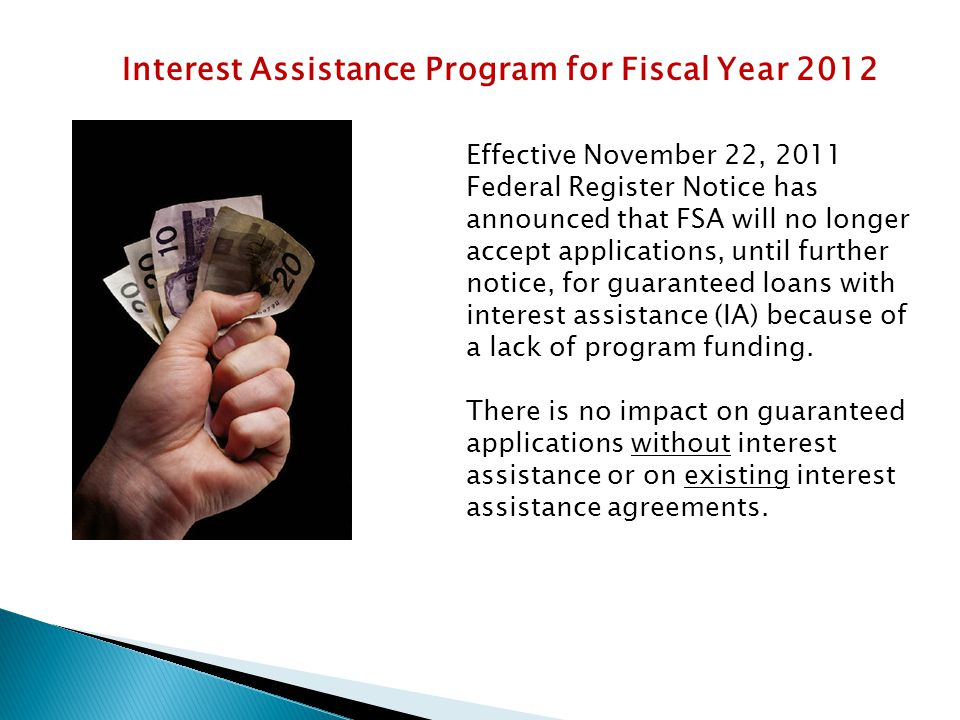 Interest Assistance Program for Fiscal Year 2012