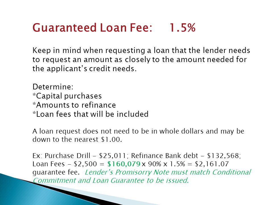 Guaranteed Loan Fee: 1.5%