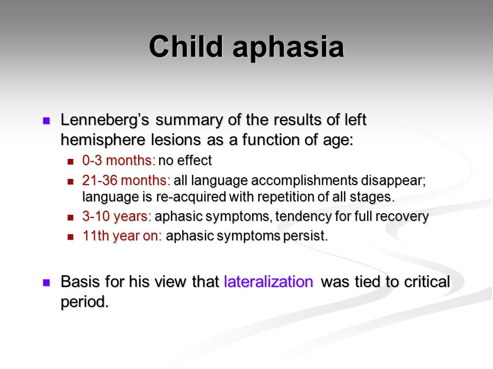 Child aphasia Lenneberg's summary of the results of left hemisphere lesions as a function of age: 0-3 months: no effect.