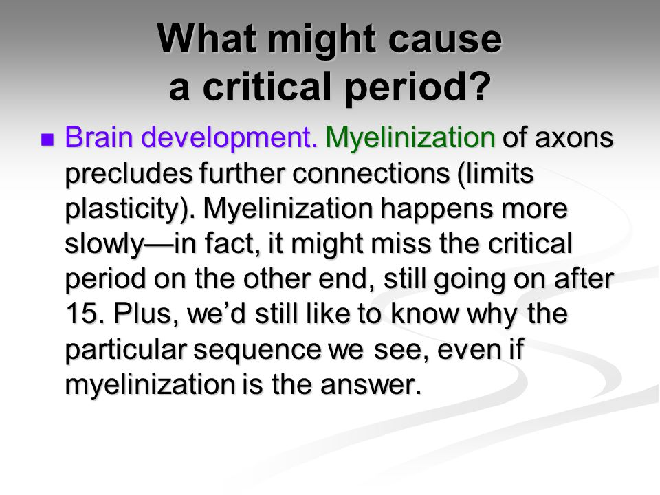 What might cause a critical period