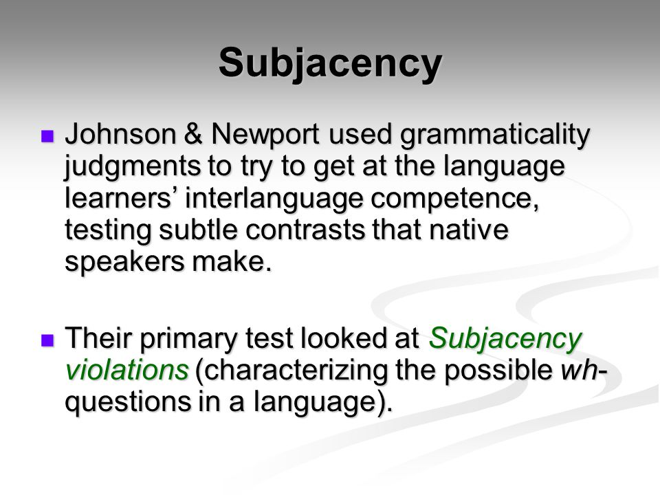 Subjacency