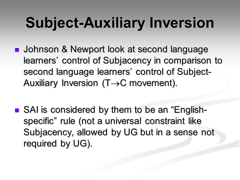 Subject-Auxiliary Inversion