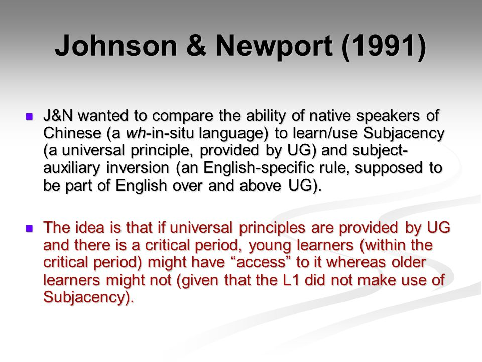 Johnson & Newport (1991)