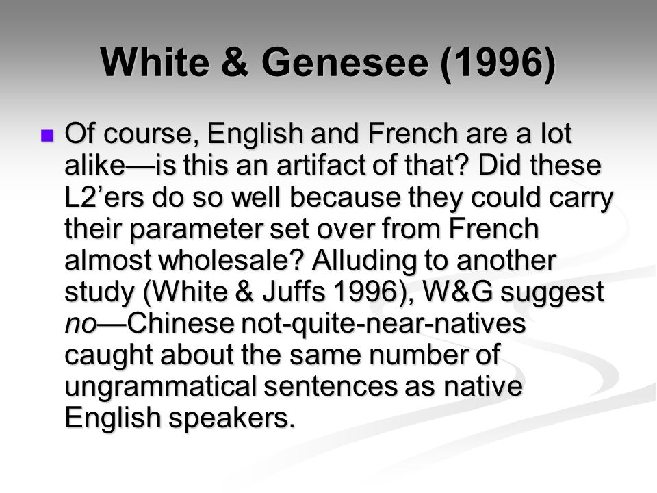 White & Genesee (1996)