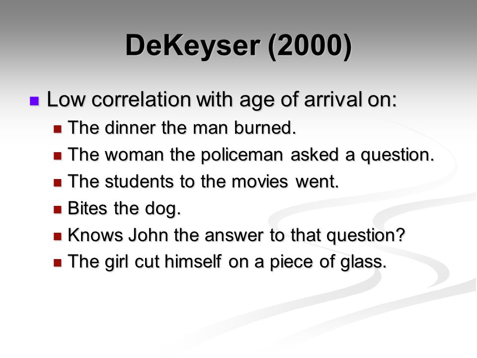 DeKeyser (2000) Low correlation with age of arrival on: