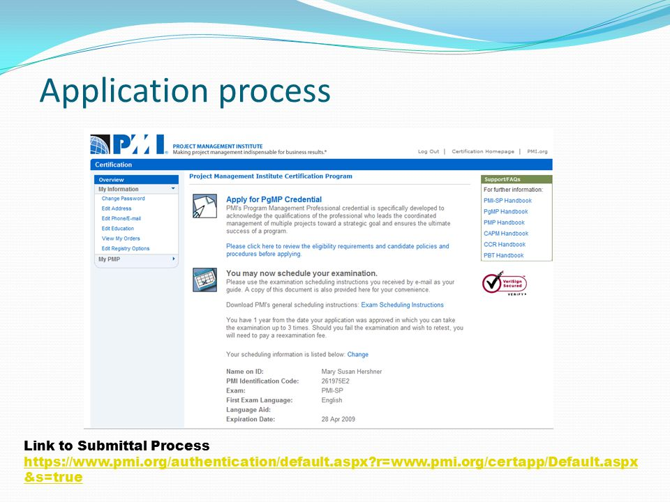 Application process Link to Submittal Process