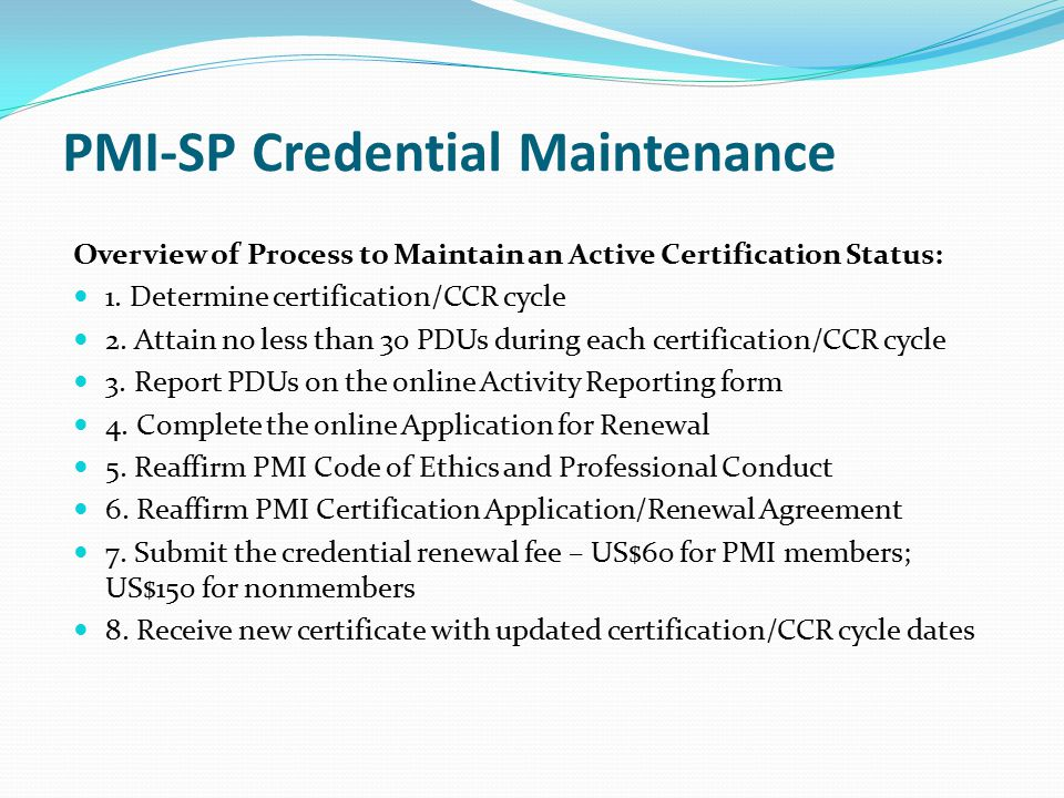 PMI-SP Credential Maintenance
