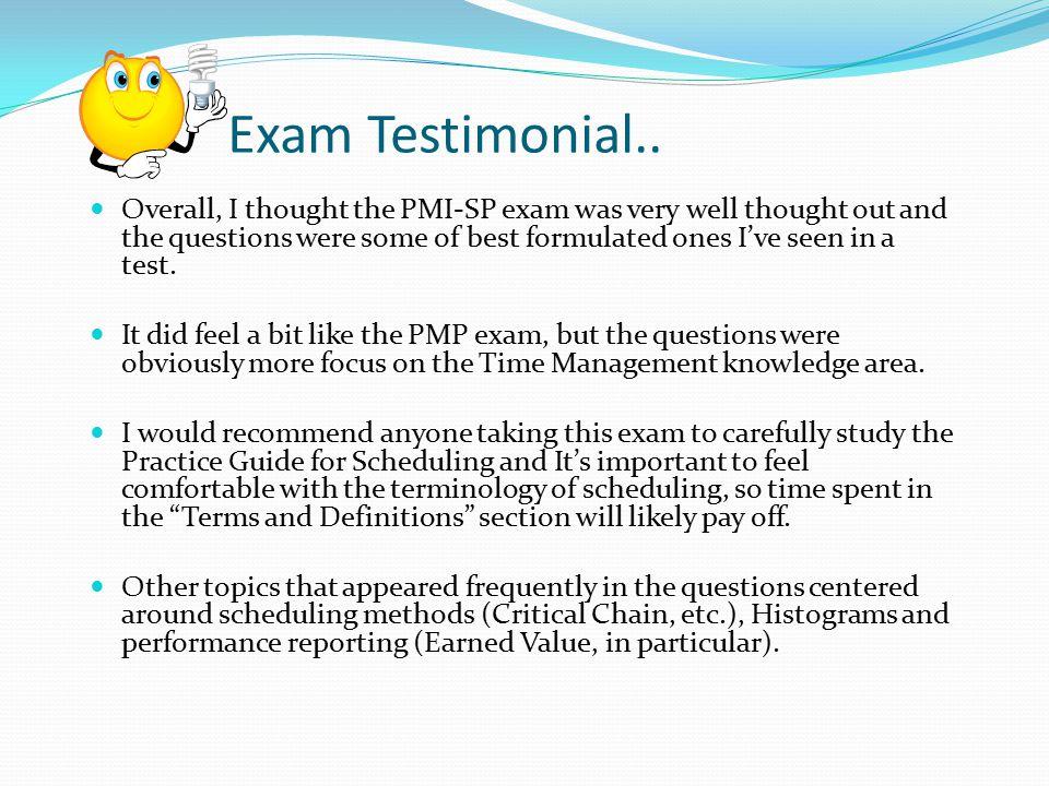 Exam Testimonial..