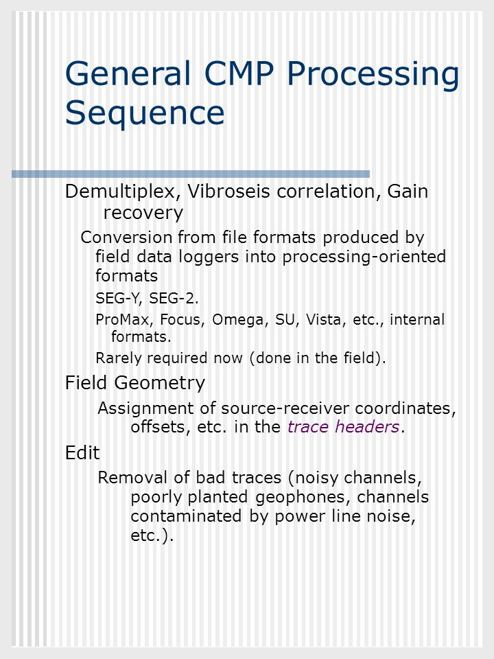 General CMP Processing Sequence
