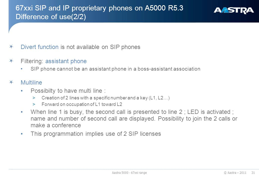 67xxi SIP and IP proprietary phones on A5000 R5