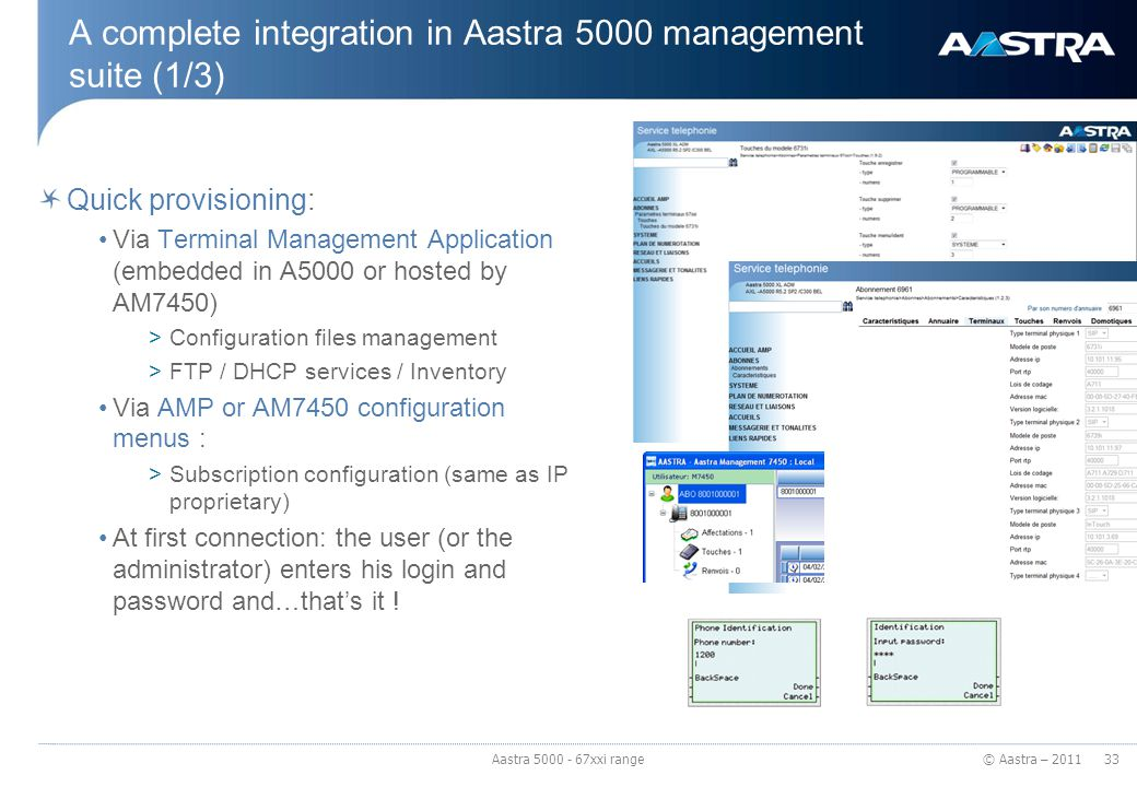 A complete integration in Aastra 5000 management suite (1/3)