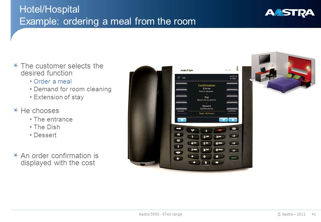 Hotel/Hospital Example: ordering a meal from the room