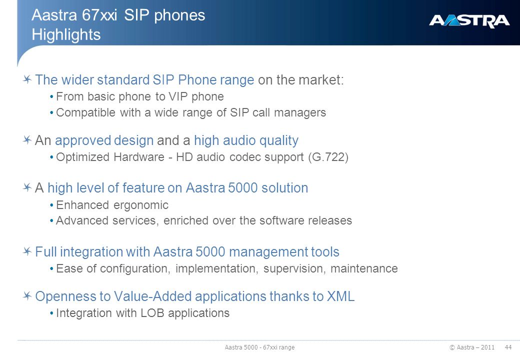 Aastra 67xxi SIP phones Highlights