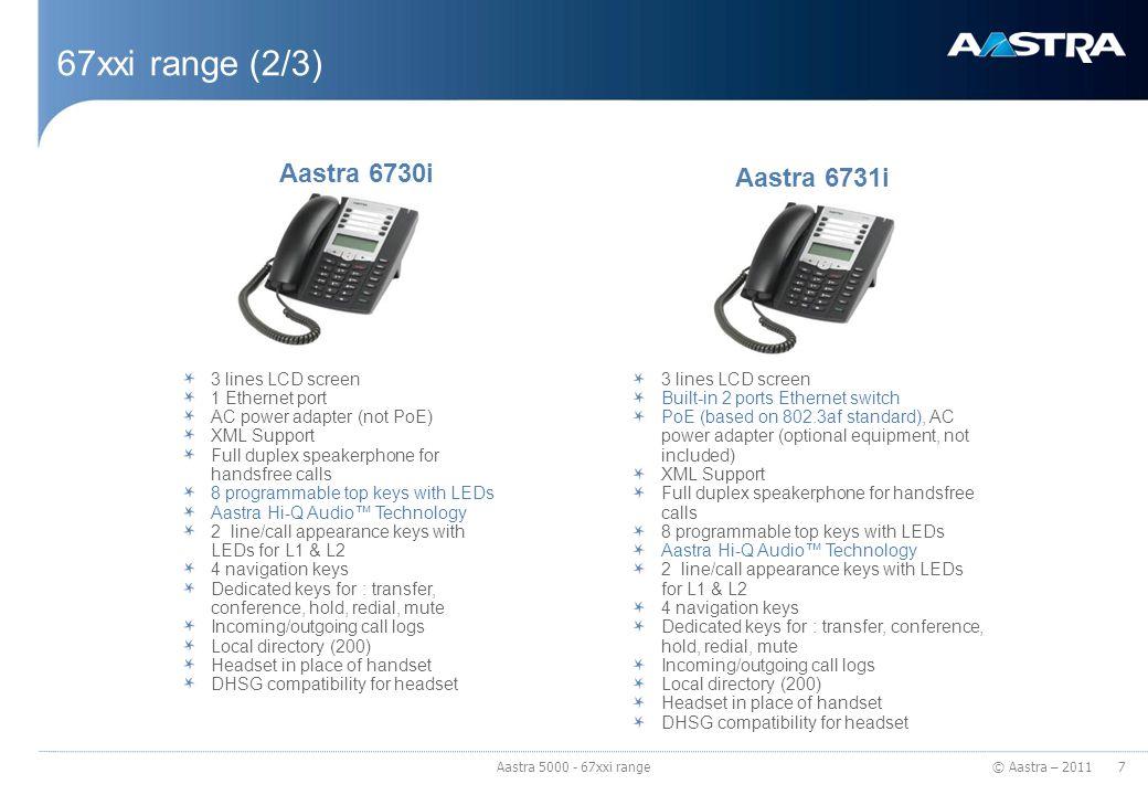 67xxi range (2/3) Aastra 6730i Aastra 6731i 3 lines LCD screen