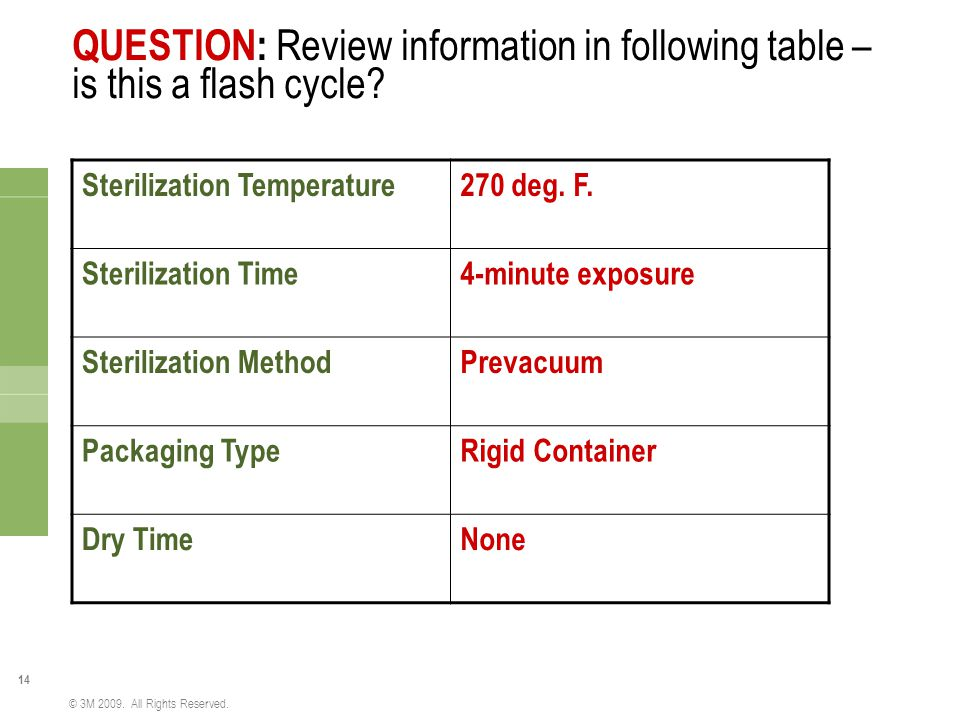QUESTION: Review information in following table – is this a flash cycle
