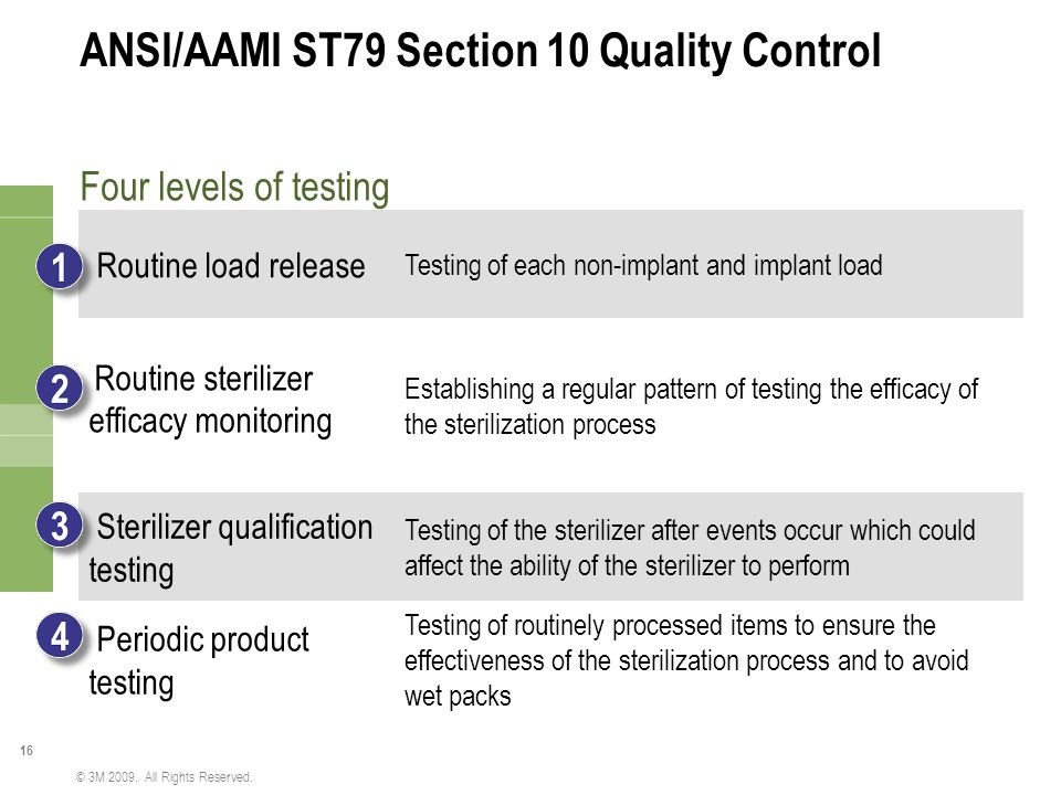 ANSI/AAMI ST79 Section 10 Quality Control