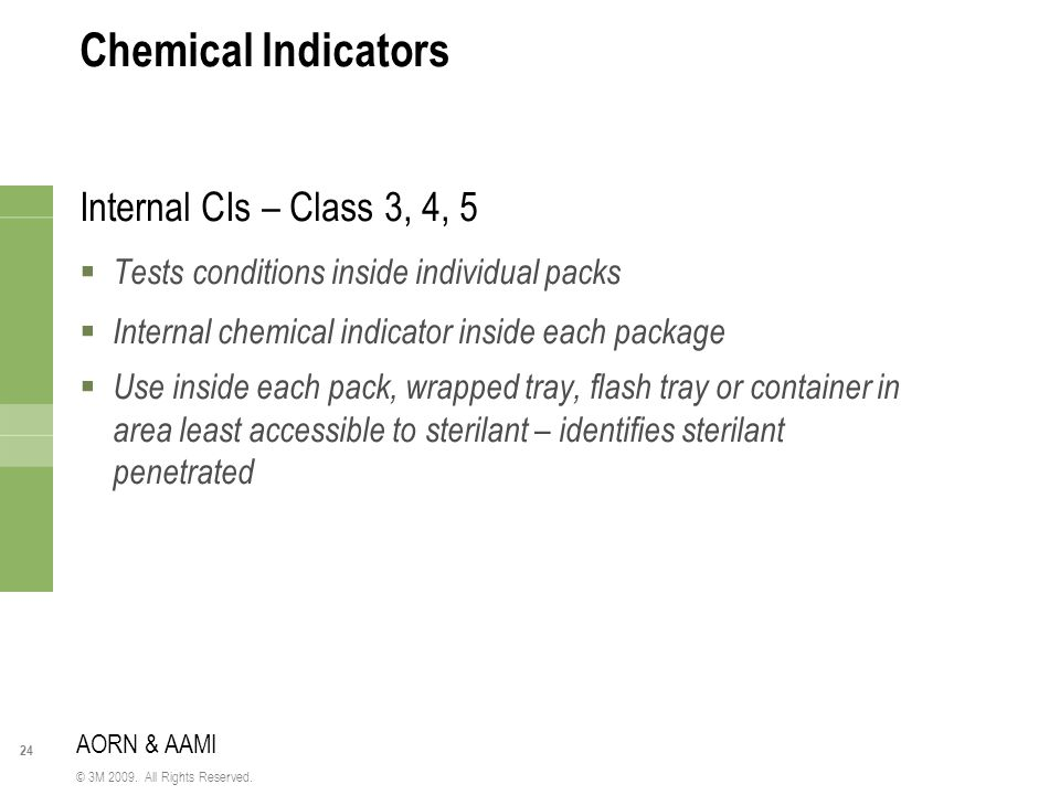 Chemical Indicators Internal CIs – Class 3, 4, 5
