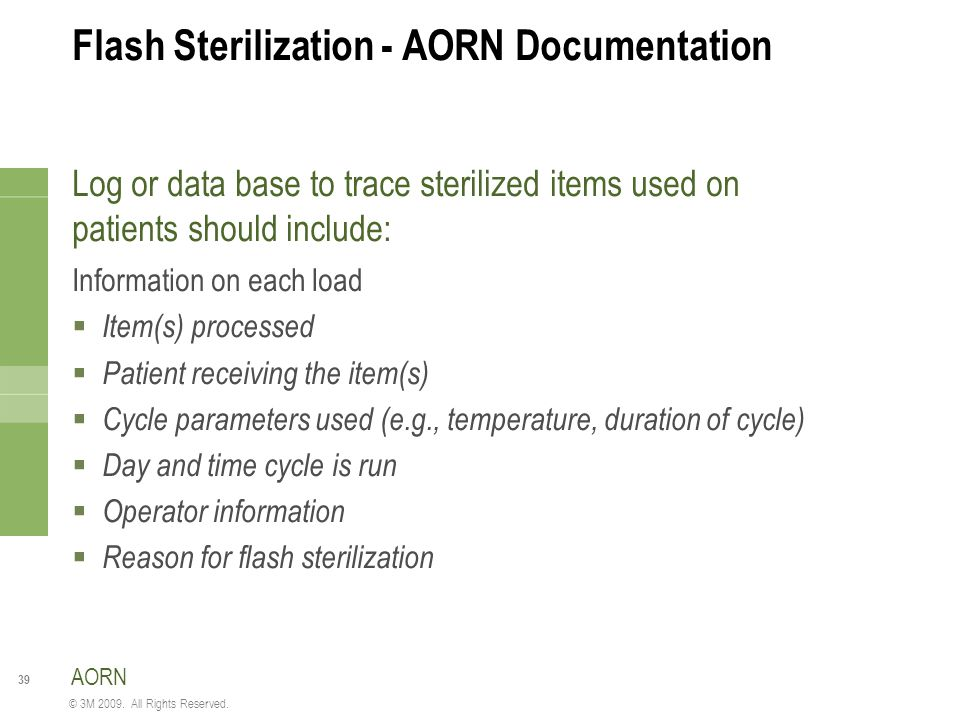 Flash Sterilization - AORN Documentation