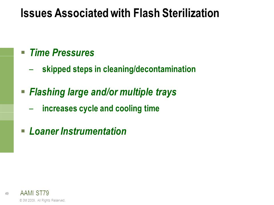 Issues Associated with Flash Sterilization