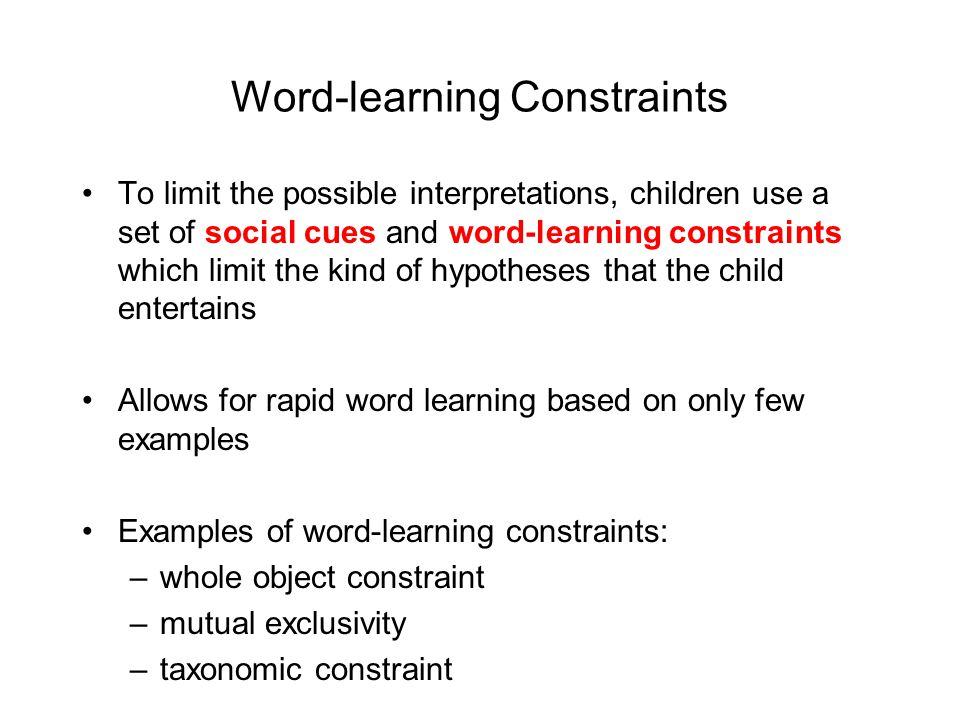Word-learning Constraints
