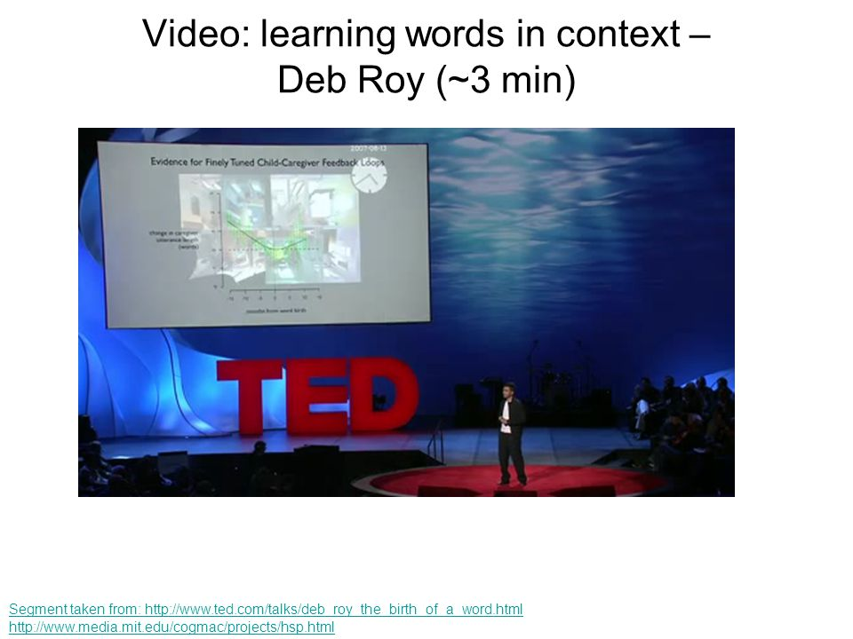 Video: learning words in context – Deb Roy (~3 min)