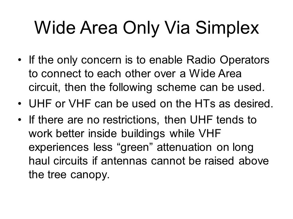 Wide Area Only Via Simplex