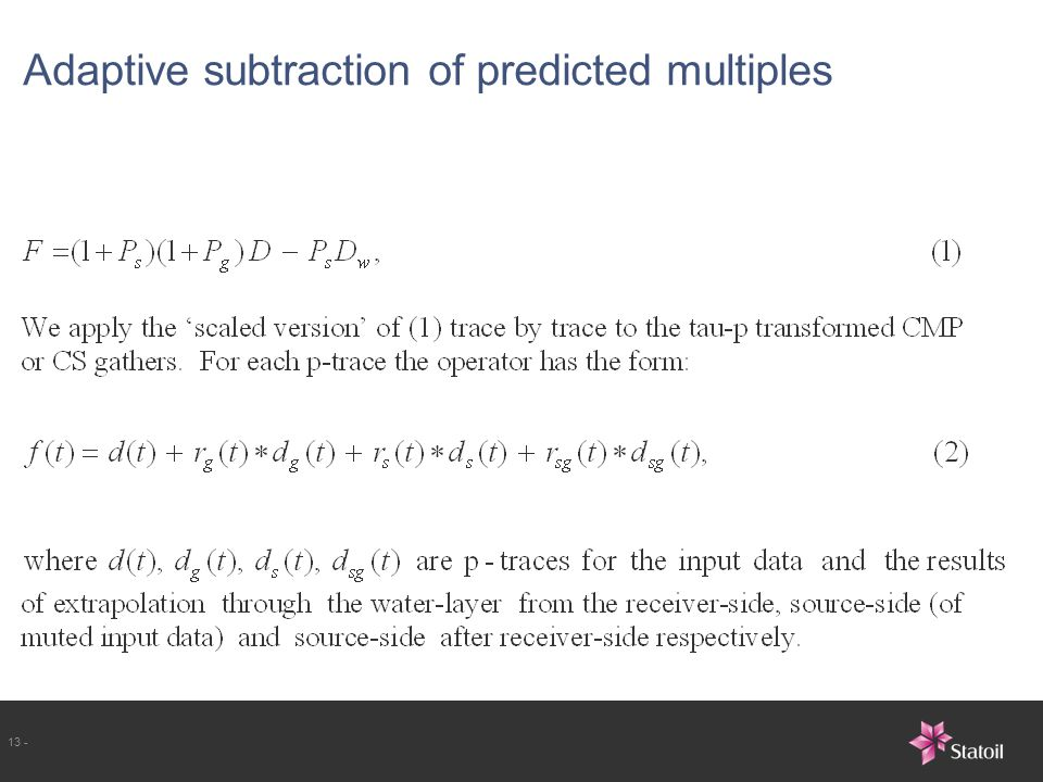 Adaptive subtraction of predicted multiples